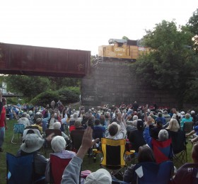 People waving at train during Yankee Brass Band Concert 2013, Lyman Pt Park, WRJct